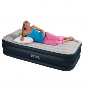 Intex Single Size Fiber-Tech Deluxe Pillow Rest Airbed with Built-in Electric Pump