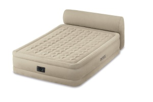 Intex Queen Size Fiber-Tech Ultra Plush Headboard Airbed with Built-in Electric Pump