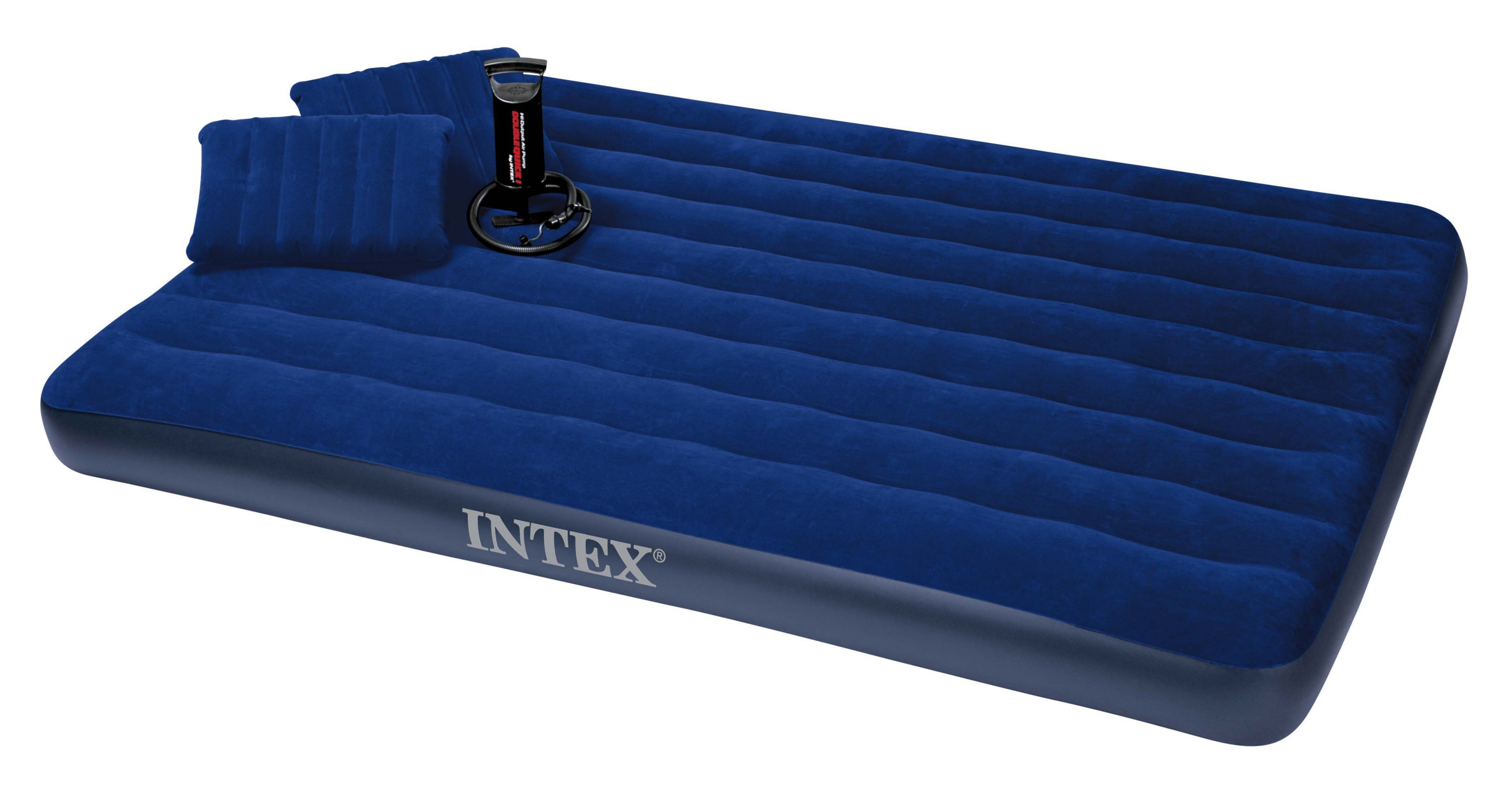 Intex queen size classic downy airbed with pump pillows for Where to buy mattresses