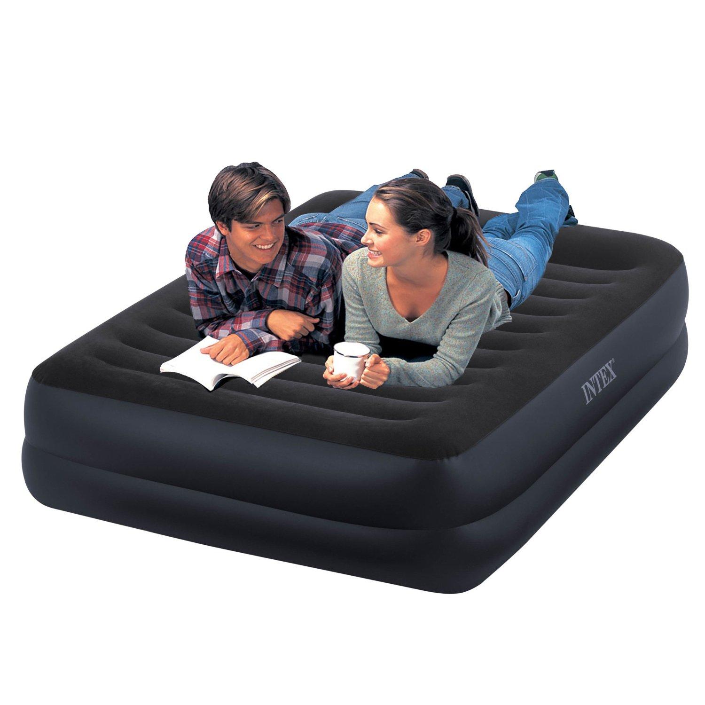 Intex Fiber Tech Queen Size Pillow Rest Airbed With Built