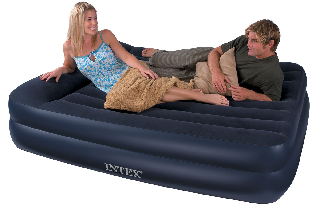 intex queen size pillow rest airbed with built-in electric pump