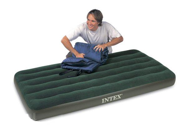intex single size prestige downy airbed with battery pump - only