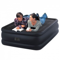 Intex Queen Size Fiber-Tech Raised Downy Airbed with Built-in Electric Pump