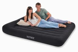 Intex Durabeam Pillow Rest Classic Queen Size Airbed with Built in Electric Pump