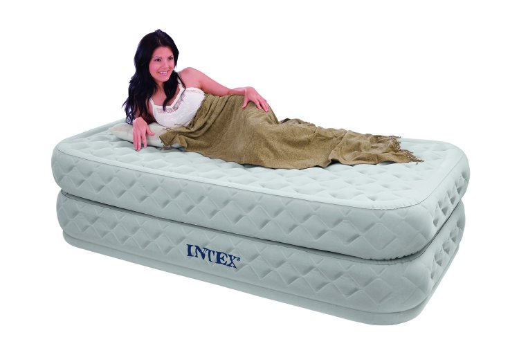 Intex Single Size Fiber-Tech Supreme Air-Flow Airbed with ...