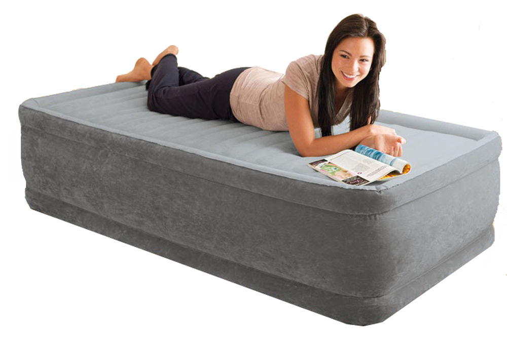 Intex Comfort Plush Raised Single Size Airbed With Built