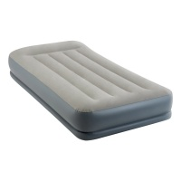 Intex Fibre-Tech Pillow Rest Mid-Rise Single Size Airbed with Built in Electric Pump