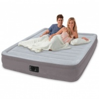 Intex Comfort Plush Mid Rise Queen Size Airbed with Built in Electric Pump